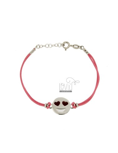 BRACELET IN SILK ROSE WITH LOVE EMOTICONS 15 MM SILVER RHODIUM TIT 925 ‰ AND POLISH CM 16.18
