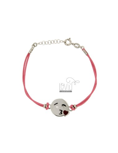 BRACELET WITH PINK SILK CERATA EMOTICONS KISS 15 MM SILVER RHODIUM TIT 925 ‰ AND POLISH CM 16.18