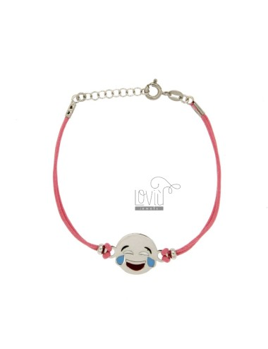 BRACELET IN SILK ROSE WITH LAUGHTER EMOTICONS 15 MM SILVER RHODIUM TIT 925 ‰ AND POLISH CM 16.18