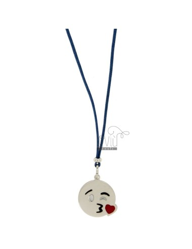 NECKLACE WITH BLUE SILK EMOTICONS KISS 17 MM SILVER RHODIUM TIT 925 ‰ AND GLAZE