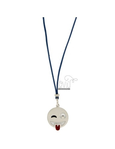 NECKLACE WITH BLUE SILK EMOTICONS tongue 17 MM SILVER RHODIUM TIT 925 ‰ AND GLAZE