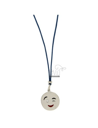 NECKLACE WITH BLUE SILK EMOTICONS Wink 17 MM SILVER RHODIUM TIT 925 ‰ AND GLAZE