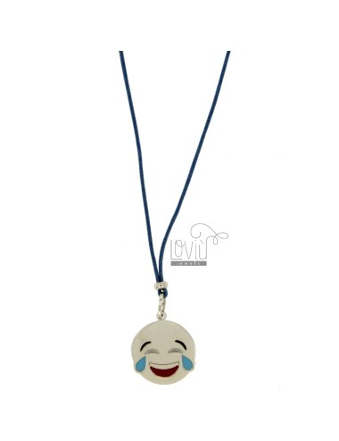 NECKLACE WITH BLUE SILK EMOTICONS LAUGHTER 17 MM SILVER RHODIUM TIT 925 ‰ AND GLAZE