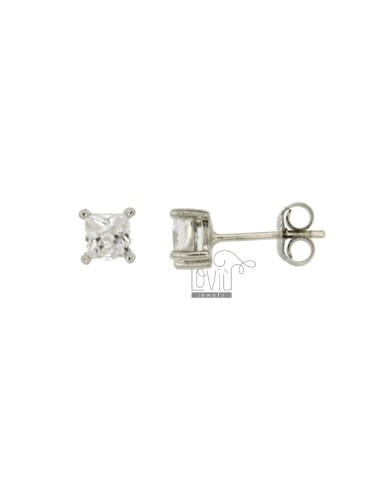 KIT 3 PAIRS EARRINGS ZIRCONE WHITE 4X4 MM SQUARE IN AG TIT RODIATO 925 ‰