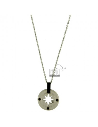 CHARM ROSE OF THE WINDS IN STEEL 20 MM WITH ELEMENTS CLAD RUTHENIUM CHAIN CABLE 50 CM