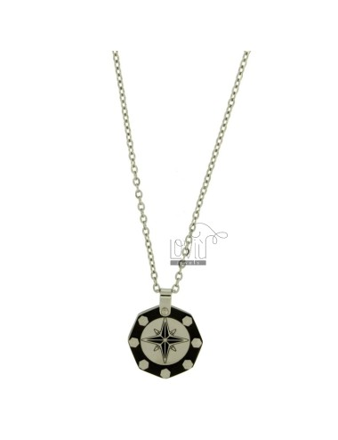 CHARM ROSE OF THE WINDS IN STEEL INSERTS CLAD RUTHENIUM CHAIN CABLE 50 CM