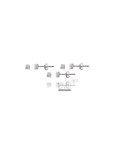 KIT 3 PAIRS EARRINGS LIGHT POINT WITH WHITE ZIRCONE 3 MM SILVER RHODIUM 925 ‰