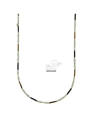 CHAIN SEGMENT 1 MM STEEL TRICOLORE RUTHENIUM AND ROSE GOLD PLATED 50 CM