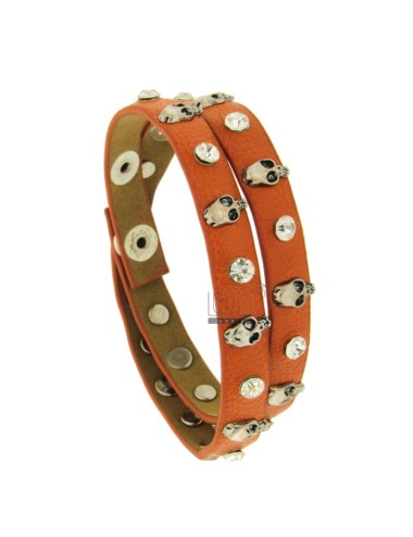 Leather bracelet with...