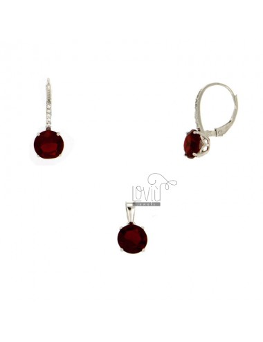 EARRINGS AND PENDANT ROUND WITH ZIRCONIA STONE AND RED SILVER RHODIUM TIT 925 ‰