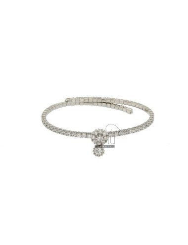 TENNIS BRACELET SEMI RIGID WITH ZIRCONIA 2,5 MM SILVER RHODIUM TIT 925 ‰ AND CENTRAL ZIRCONE