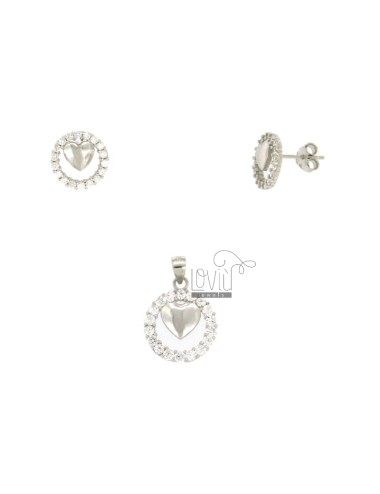 EARRINGS AND PENDANT 13 MM ROUND WITH HEART IN SILVER TIT 925 ‰ AND ZIRCONIA