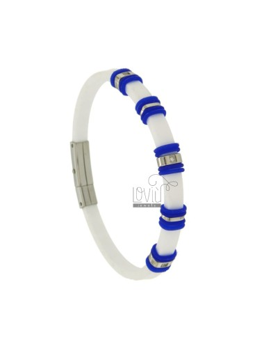 BRACELET STEEL AND RUBBER &39WHITE 5 MM WITH INSERTS AND BLUE ZIRCONIA