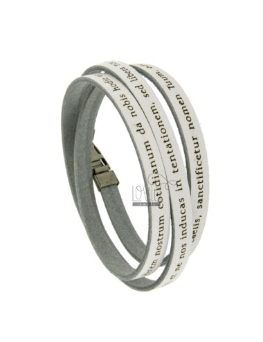 OUR FATHER IN WHITE LEATHER BRACELET 7 MM WITH WRITTEN IN LATIN AND CLOSING IN STEEL