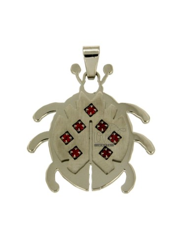 Pendant COCCINELLA MM32X31 STEEL WITH RED ZIRCONIA