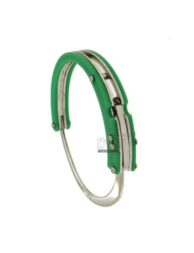 BRACELET HANDCUFF STEEL WITH RUBBER &39GREEN