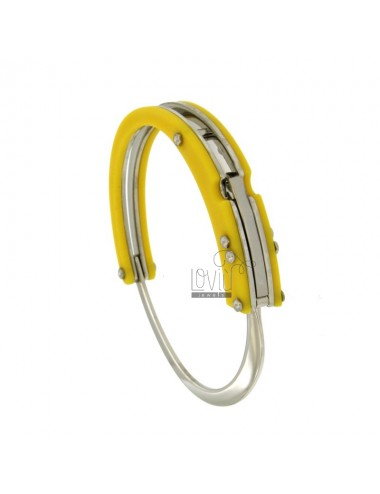BRACELET HANDCUFF STEEL WITH RUBBER &39YELLOW