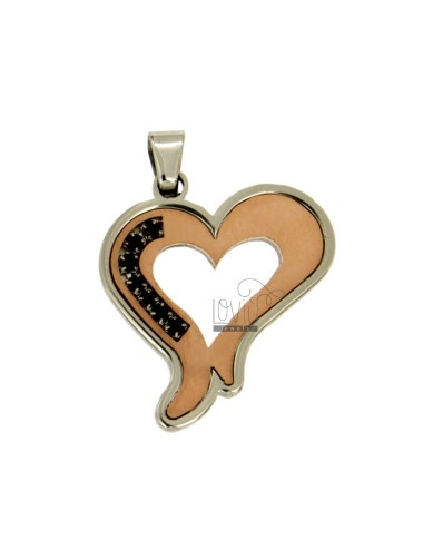 PENDANT HEART MM 32x28 STEEL TWO TONE ROSE GOLD PLATED INSERTS RUBBER &39BLACKS AND ZIRCONIA