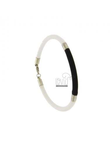 BRACELET RUBBER &39BLACK AND WHITE TUBE MM 3 INSERTS AND CLOSING IN STEEL