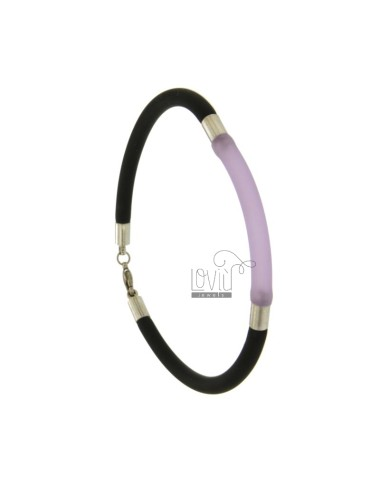 BRACELET RUBBER &39BLACK AND PURPLE TUBE MM 3 INSERTS AND CLOSING IN STEEL