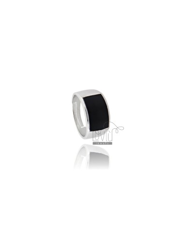 SQUARE RING 16x11 MM WITH POLISH SILVER RHODIUM TIT 925 ‰ ADJUSTABLE MEASURE 16