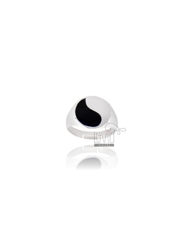 RING ROUND 14 MM WITH POLISH SILVER RHODIUM TIT 925 ‰ ADJUSTABLE MEASURE 18