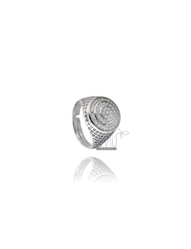 14 MM ROUND RING WITH ZIRCONIA AND ENAMEL SILVER RHODIUM TIT 925 ‰ ADJUSTABLE SIZE FROM 20