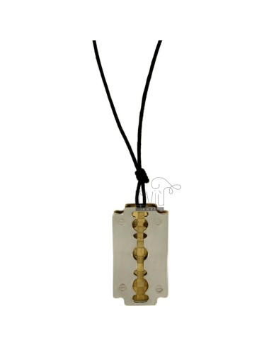 Pendant BLADE MM 34X20 STEEL INSERTS PLACCATOI GOLD AND LACE SILK CERATA