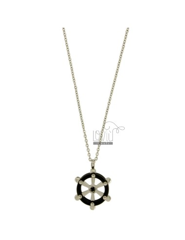 Pendant RUDDER STEEL WITH ELEMENTS AND ROLLED RUTENIO ZIRCONE BLACK WITH CHAIN CABLE 50 CM