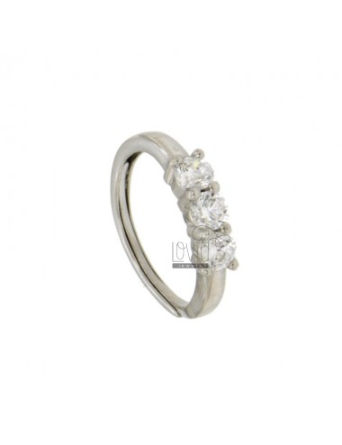 RING TRILOGY WITH ZIRCONIA 4 MM SILVER RHODIUM TIT 925 ‰ ADJUSTABLE MEASURE 12