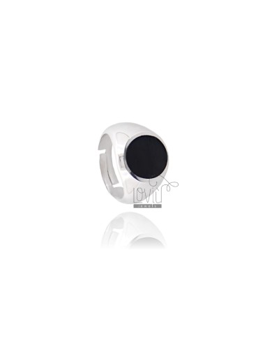 RING ROUND 15 MM WITH POLISH SILVER RHODIUM TIT 925 ‰ ADJUSTABLE MEASURE 20