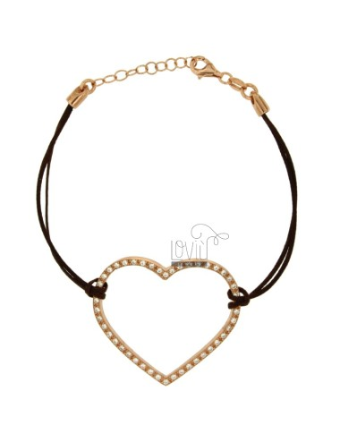 BRACELET WITH HEART CENTRAL SILK CERATA MM 33X40 SILVER ROSE GOLD PLATED TIT 925 ‰ AND ZIRCONIA