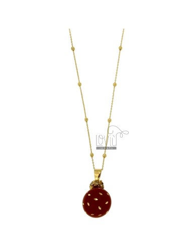 CALLING ANGELS PENDANT 20 MM BRONZE WITH POLISH AND RED DOTS ZIRCONS CHAIN CABLE AND BALLS MM 3 CM 90 PLATED GOLD