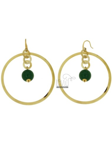 EARRINGS CIRCLE 69 MM IN BONE AND BALL PENDANT GREEN JADE HOOK SILVER GOLD PLATED YELLOW TIT 925 ‰