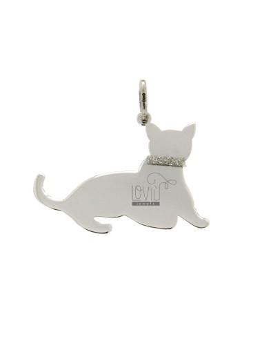 PENDANT CAT MM 22x30 Silber...