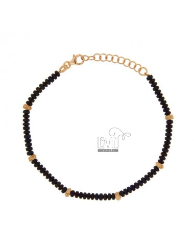 BRACELET A WASHER 3.5 MM IN EMATITE PURPLE AND SILVER ROSE GOLD PLATED TIT 925 ‰ FROM 18 TO 21 CM