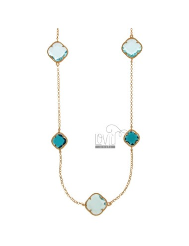 CHANEL SILVER PLATED ROSE GOLD 925 ‰ AND STONES WITH HYDROTHERMAL TONI BLUE COLOR AND BLUE 2 COLOR 30 CM 90