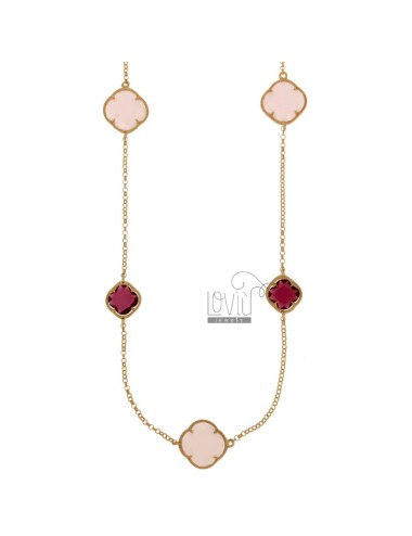 CHANEL SILVER PLATED ROSE GOLD 925 ‰ HYDROTHERMAL AND STONES WITH PINK TONES OF 11.16 CM 90