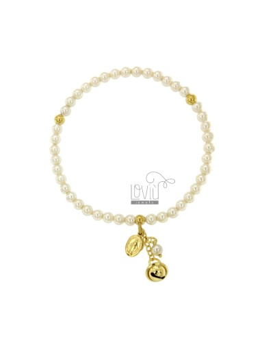 ELASTIC BRACELET WITH PEARLS MM 4, BELL AND MIRACULOUS MADONNINA SILVER GOLD PLATED TIT 925 ‰