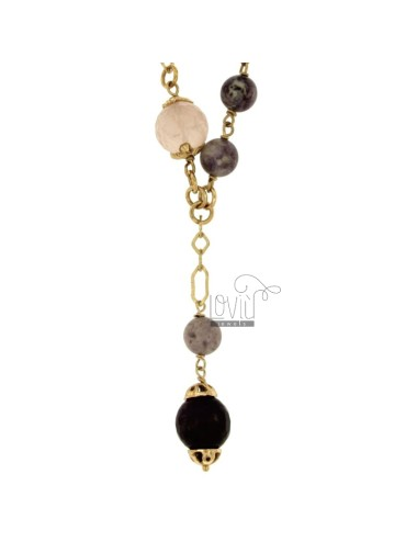 TIE NECKLACE 92 CM IN SILVER GOLD PLATED TIT 925 ‰ STONES WITH PINK AND PURPLE
