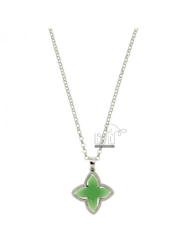 CHAIN ROLO &39CM 43.45 CHARM AND A FLOWER 4 POINTS WITH STONES HYDROTHERMAL GREEN 10 SILVER RHODIUM TIT 925 ‰