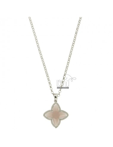 CHAIN ROLO &39CM 43.45 CHARM AND A FLOWER 4 POINTS WITH STONES HYDROTHERMAL 11P PINK PEARL IN SILVER RHODIUM TIT 925 ‰