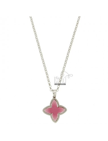 CHAIN ROLO &39CM 43.45 CHARM AND A FLOWER 4 POINTS WITH STONES HYDROTHERMAL FUCSIA 16 SILVER RHODIUM TIT 925 ‰