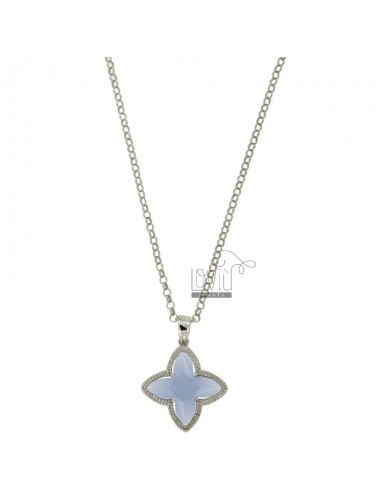 CHAIN ROLO &39CM 43.45 CHARM AND A FLOWER 4 POINTS WITH STONES HYDROTHERMAL CARD SUGAR TIT 28 RHODIUM SILVER 925 ‰