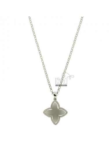 CHAIN ROLO &39CM 43.45 CHARM AND A FLOWER 4 POINTS WITH STONES HYDROTHERMAL GREY TIT 51 RHODIUM SILVER 925 ‰