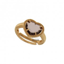 CUORICINO RING WITH HYDROTHERMAL STONE COLOR PURPLE 13 SILVER PLATED ROSE GOLD TIT 925 ‰