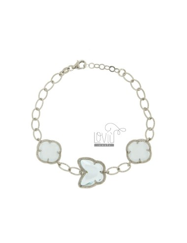 BRACELET CHAIN WITH BUTTERFLY AND FLOWERS WITH STONES HYDROTHERMAL CELESTIAL SILVER RHODIUM TIT 925 ‰