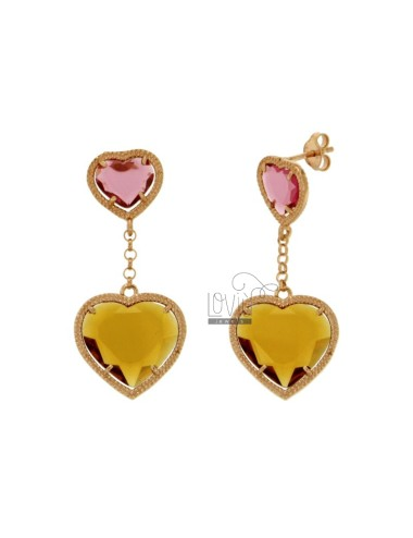 EARRINGS DOUBLE HEART WITH STONES HYDROTHERMAL YELLOW COLOUR FUCHSIA 16 OCRA 3 SILVER ROSE GOLD PLATED TIT 925 ‰