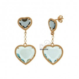 EARRINGS DOUBLE HEART WITH STONES HYDROTHERMAL LIGHT BLUE 2 IN SILVER ROSE GOLD PLATED TIT 925 ‰