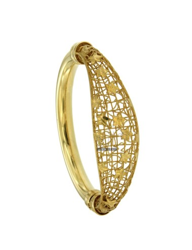 BANGLE OVAL MM 20 SILVER GOLD PLATED TIT 925 ‰ TRAFORATO WITH STARS AND CLOSING SIDE
